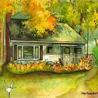 Custom Home Portrait In Watercolor and Ink by maryfrancessmith