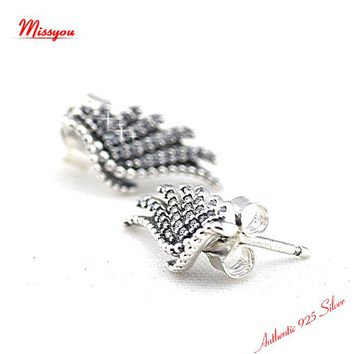 Authentic 925 sterling Silver Jewelry Majestic Feathers Stud EarringS  Free Shipping