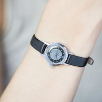 Grey black women's watch Glory, little women wristwatch silver shade, watch minimalist 90s, preppy girl watch, new genuine leather strap