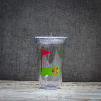 Golf Monogrammed Mason Jar Acrylic Cup, Tumbler, or Wine Glass. Personalized Custom Golf Monogram Tumbler - Many Cup Styles!
