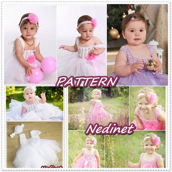 Baby girl party girl birthday girl crochet / tulle dress 0-6 and 6-12 months set PATTERN