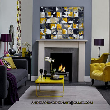 Wall Art, Abstract Painting, Metal Wall Art Metal, Painting, Yellow and Gray Contemporary Artwork JUST BE Holly Anderson