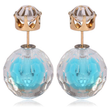 Gum Tee Mise en Style Tribal Double Bead Earrings - Hidden Gem Aquamarine
