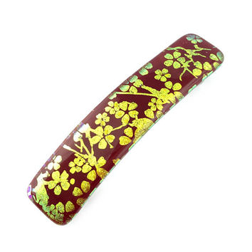 Hair Barrette French Clip, Red with Gold Cherry Blossoms, Dichroic Glass