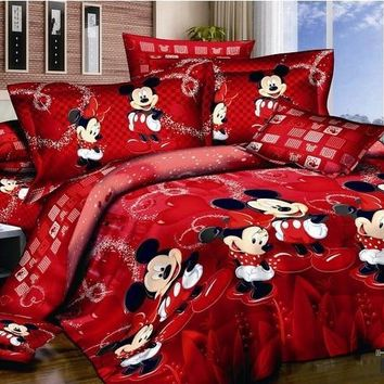 Cool red mickey minnie mouse bedding sets DISNEY cartoon bedspread cotton bed duvet covers Children's Girls bedroom decor Queen KingAT_93_12