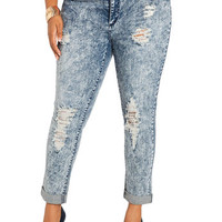 Destructed Cuffed Acid Wash Jeans