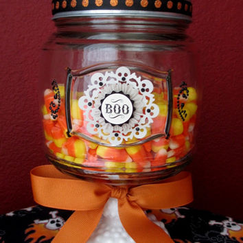 Halloween Apothecary Candy Jar ~ Glass Candy Jar w/ Crystal Embellishments on Glass Candle Holder base with Glittery Pumpkin on Lid