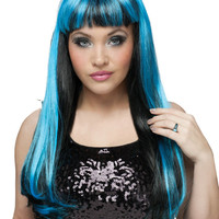 costume accessory: wig natural | black/blue
