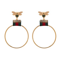 Yellow Gold Bumble Bee Circle Hoop Earrings
