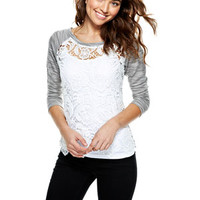 Scallop Lace Long-Sleeve Raglan