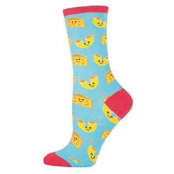 Socksmith Mac N' Cheese NWT Women's Crew Socks - Light Blue/Pink - Sizes 6-10