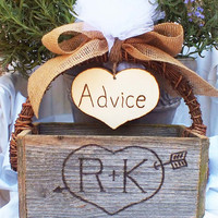 Wedding Card Box Advice Box With Burlap Bow And Tulle Accent Rustic Wedding Decor