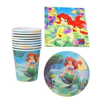 60pcs/lot Happy Baby Shower Girls Favors Napkins Birthday Party Cups Plates Decoration Towels Little Mermaid Theme Tableware Set