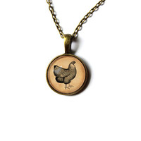 Antique style chicken pendant Farm bird jewelry Vintage looking n63