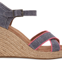 CHAMBRAY TRIM WOMEN'S STRAPPY WEDGES