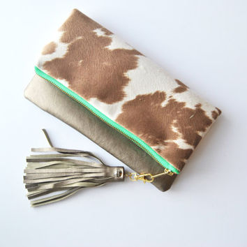 Animal print clutch, pony print foldover, cow print clutch, cowhide bag, neutral purse, Wallet, everyday casual bag, western handbag