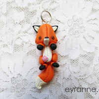 Polymer Clay Pendant: Natural Fox  // Cute Fox Pendant // Animal Jewelry