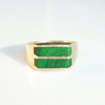 Mexican Sterling Ring Green Malachite Stone Modernist Taxco Vintage Mens Jewelry