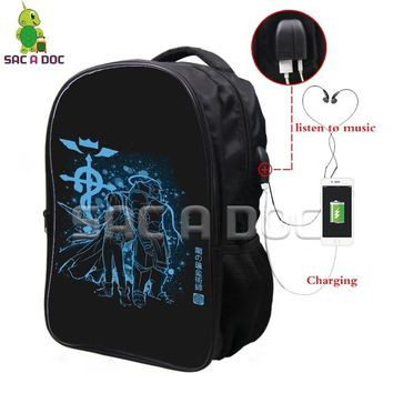 Anime Backpack School kawaii cute Fullmetal Alchemist Fluorescence Backpack Multifunction School Bags for Teenagers USB Charging Headphone Jack Travel Bags AT_60_4
