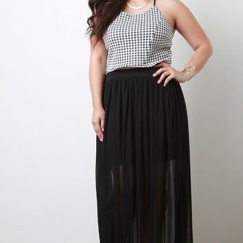 Goddess Semi-Sheer Mesh Overlay Maxi Skirt