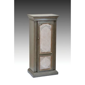 Wooden Jewelry Armoire, Antique Gray & Antique Beige-ACME