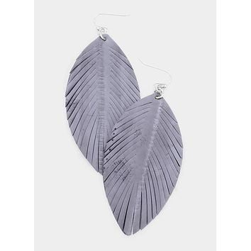 Gray Leather Fringed Leaf Earrings