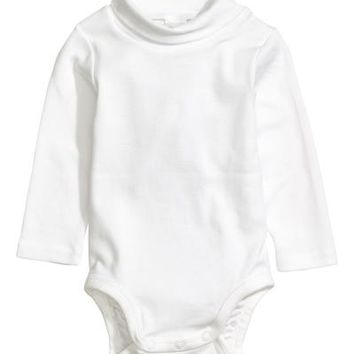 Turtleneck Bodysuit - White - Kids | H&M US