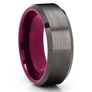 Gunmetal Tungsten Wedding Band - Purple Tungsaten Ring - Purple Tungsten