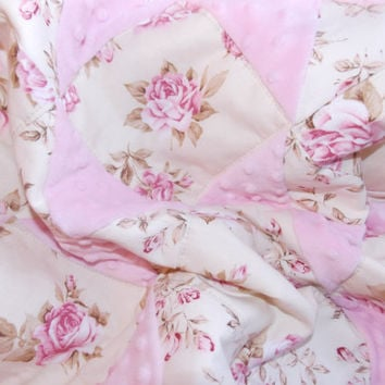 Shabby Chic Baby Girl Quilt Blanket in Pink Roses and Pale Yellow