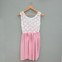Baby Pink and Ivory Lace Scalloped Babydoll Dress by Kee Boutique