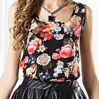 Black and Floral Tank Top