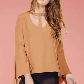Camel Button Up Blouse