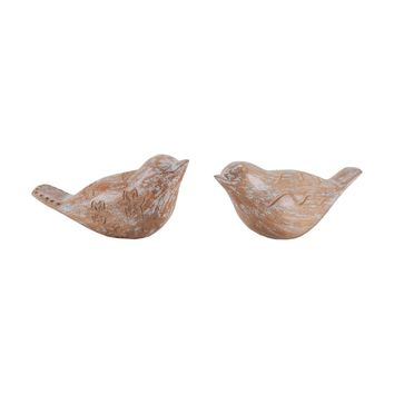 Carved Albasia Wood Birds White Washed