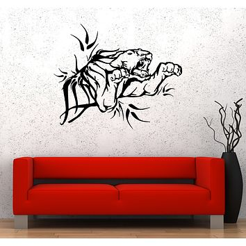 Wall Decal Tiger Animal Jump Lion Beast Predator Vinyl Sticker (ed1606)