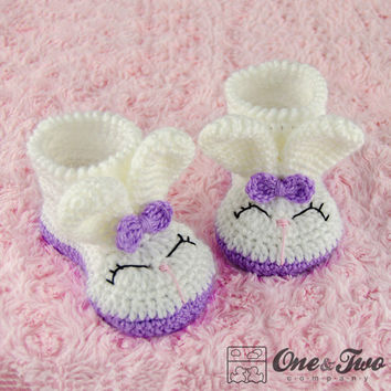 Olivia the Bunny Booties - PDF Crochet Pattern - Toddler sizes ( US 6, 7-8, 9 ) - Shoes Baby Toddler Slippers