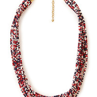 FOREVER 21 Be Seen Beaded Necklace Red/Navy One