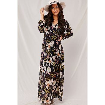 Autumn Queen Floral Maxi Dress (Black)
