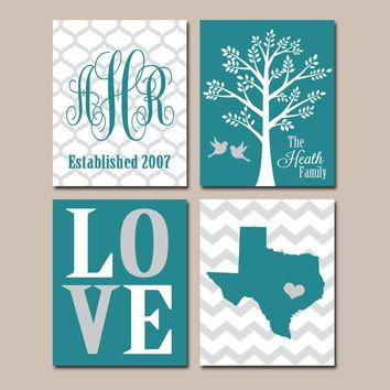 TEAL Personalized Family Wall Art, Custom Family Tree State Teal Wall Art, Monogram Initial LOVE Bird Tree Est Date Wedding Gift Set of 4