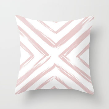 Minimalistic Rose Gold Paint Brush Triangle Diamond Pattern Throw Pillow by AEJ Design