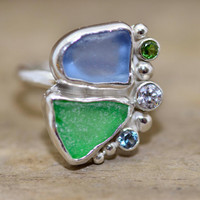 Reserved Seaglass ring.  Handmade unique seaglass ring in a custom sterling silver setting accented with sparkly CZs.