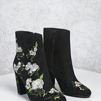 DCK7YE Faux Suede Embroidered Boots