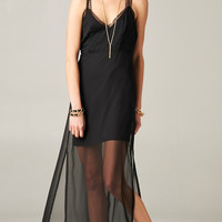 BLACK LACE SLIP MAXI DRESS