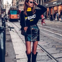 FENDI Classic Women Personality Letter Embroidery Knit Long Sleeve Half High Collar Sweater Top Sweatshirt Black