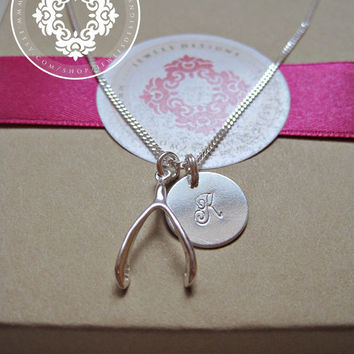 Wishbone, Initial Necklace, Initial Disc Necklaces, Personalized Jewelry Monogram Necklace, Personalized Gift,Engraved Initial