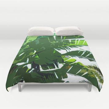 Banana Palms - Duvet Cover, Beach Tropical Green Bedding, Jungle Palm Fronds, Bohemian Chic Accent Throw Cover. In Full / Queen / King Size