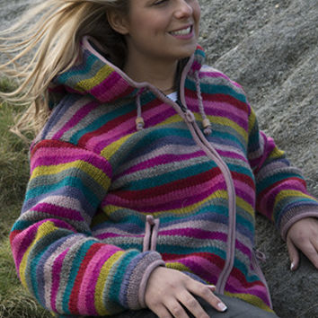 Rainbow Wooly Cardigan Jacket, Cool Winter Wrap