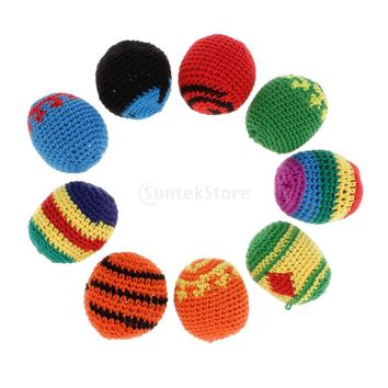 2.2 Inch Wool Knitted Kick Ball Hacky Sack Footbag Daily Tranining Ball for Children Garden Party Outdoors