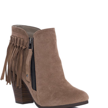 Orion Fringe Booties - Taupe