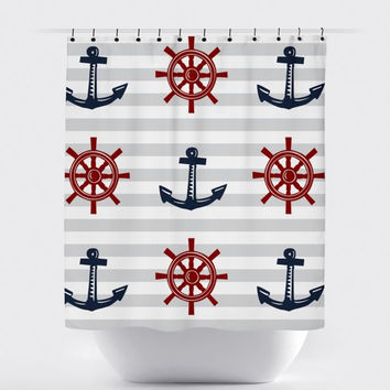 Red/Navy Anchor Nautical Shower Curtain