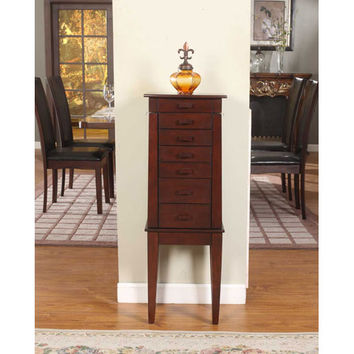 Nathan Direct J1012ARM-SM-ATQ Sumba Yin Yang Antique Brown Six Drawer Jewelry Armoire